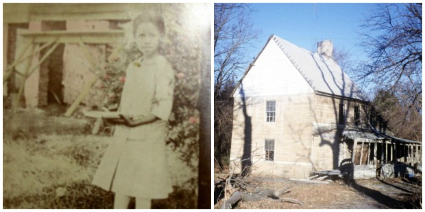 Grandma around 8 or 9 in 1917 (left), Butler House (right)