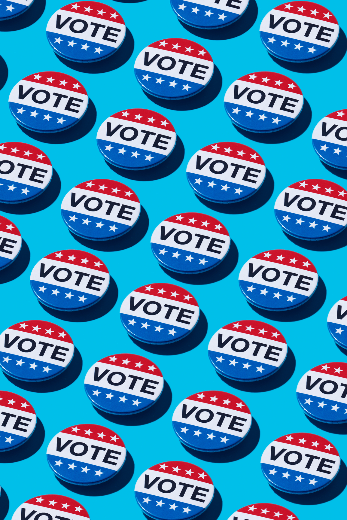 Red, white, and blue vote buttons on blue background
