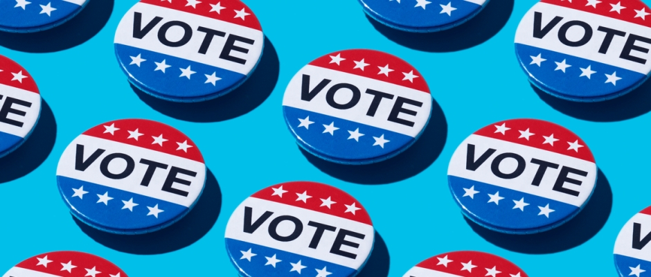 Red, white, and blue vote buttons